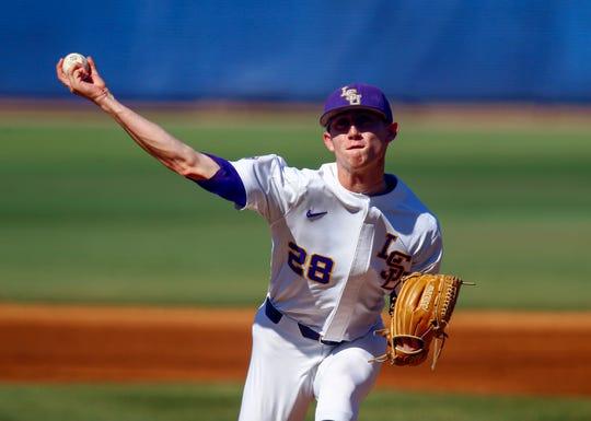 LSU pitcher Devin Fontenot throws a pitch against Vanderbilt during the first inning of an NCAA college baseball game at the Southeastern Conference tournament, Saturday, May 25, 2019, in Hoover, Ala. (AP Photo/Butch Dill)