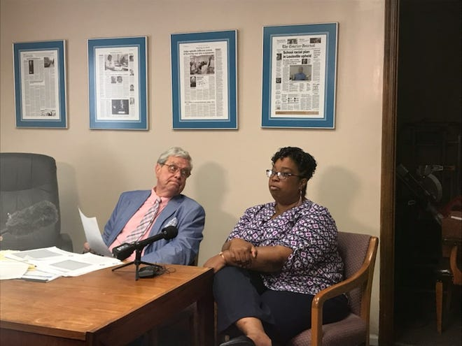 Lawyer Ted Gordon and Katina Jackson announce that Jackson is suing officials at a Jefferson County school and a 7-year-old student, alleging harassment of Jackson's daughter.