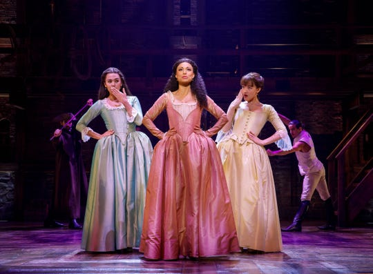 "Julia K. Harriman, Sabrina Sloan, Isa Briones and company. The Schuyler Sisters -""Hamilton"" National Tour PNC Broadway in Louisvlle."