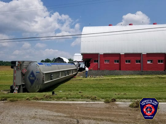 A crash Tuesday on US 150 in Harrison County, Indiana, ended after a semi-tanker crashed into a barn. Two people were hospitalized. May 28, 2019