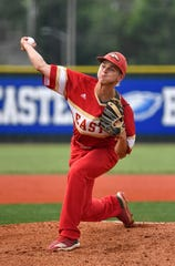 Bullitt East pitcher Garret Simpson pitches in to the PRP side during the Sixth Region championship game at Eastern High School on Tuesday, May 28, 2019.