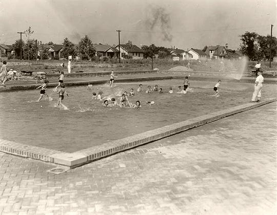 Youngsters splashed in an Algonquin Park wading pool that was constructed during the 1930s or '40s.