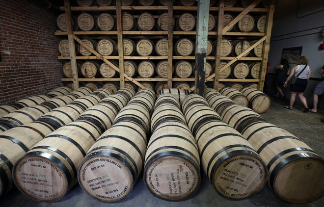 A display of bourbon barrels at the Kentucky Peerless Distilling Company. May 24, 2019