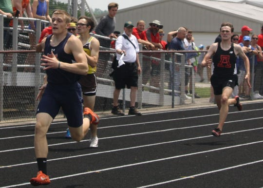 Galion senior Colbey Fox races to a regional title in the 400 meter dash.