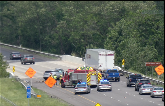 A tire from a northbound semi crossed the median on Interstate 71 Tuesday just south of the Ohio 39 exit and struck a southbound vehicle, causing minor injuries to someone in the vehicle, the Mansfield post of the Ohio Highway Patrol said.