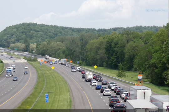 Southbound Interstate 71 traffic was snarled Tuesday afternoon after a northbound semi tractor trailer tire crossed the median and struck a southbound vehicle. Only minor injuries were reported, according to the Mansfield post of the Ohio Highway Patrol.