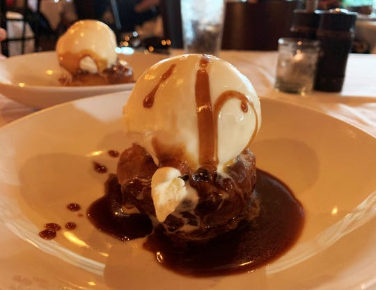 White chocolate apple croissant bread pudding from Fin Bistro, Marco Island.