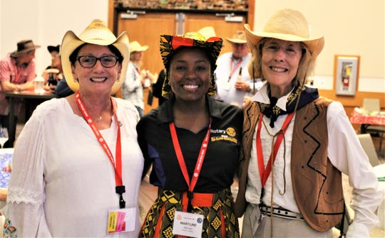 From left, Pat Rutledge, Noontime Rotary Club president; Marilyn Mamua, global outreach executive director from Tanzania and Linda Sandlin, Rotary Club president-elect nominee.