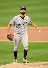 Brewers starting pitcher Gio Gonzalez endured a tough second inning when he allowed four runs with three coming on Twins centerfielder Byron Buxton's home run.