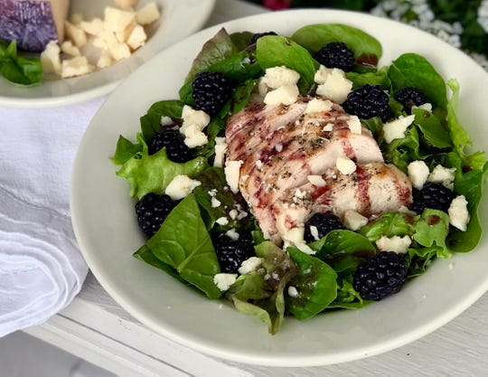Grilled Chicken Salad with Blackberry Vinaigrette calls for blackberries and crumbled wine-infused cheese such as Sartori Merlot BellaVitano.