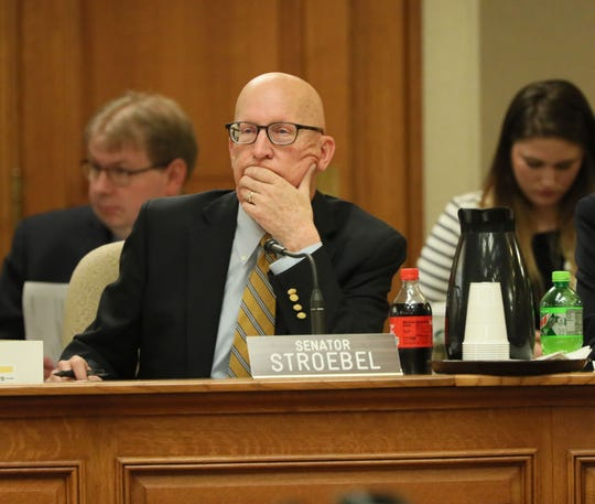 Sen. Duey Stroebel listens May 23 during a meeting of the Legislature's Joint Finance Committee.