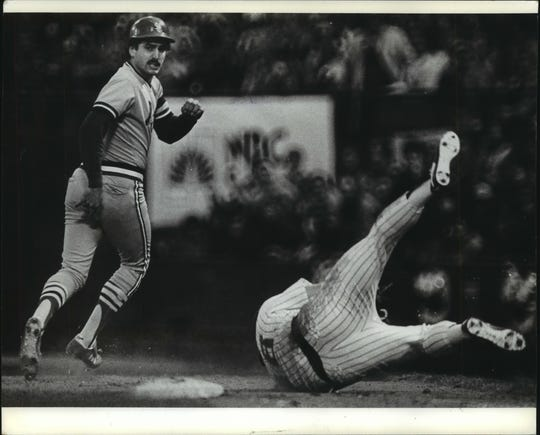 Cardinal Keith Hernandez  was safe at first in the seventh inning when Mike Caldwell tumbled trying to get a relay throw and over first base during the 1982 World Series.