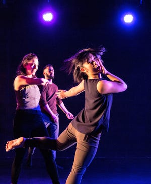 Lucky Plush Productions returns to the Door Kinetic Arts Festival in 2019. In this photo, Kara Brody, Elizabeth Luse and Rodolfo Sanchez Sarracino are in motion.