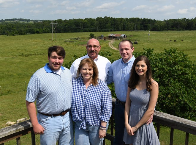 The Wes Henderson family has been selected as the 2019 Baxter County Farm Family of the Year. The Henderson family includes (back row, left to right) father Wes Henderson, son Will, (front row, left to right) son Gabe, mother Lesa and daughter-in-law Sydney.