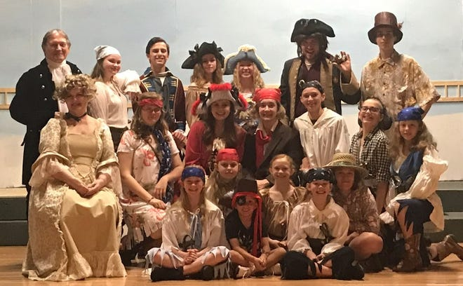 The cast ofA Pirate's Life for Me! is shown at the Twin Lakes Playhouse. The production opens Friday and runs twoweekends. Shows are slated for 7 p.m. Friday and Saturday evenings, with a 2 p.m.Sunday matinee.