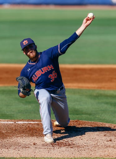 Auburn's Kyle Gray throws a pitch during the first inning of a Southeastern Conference tournament NCAA college baseball game against Vanderbilt, Wednesday, May 22, 2019, in Hoover, Ala. (AP Photo/Butch Dill)