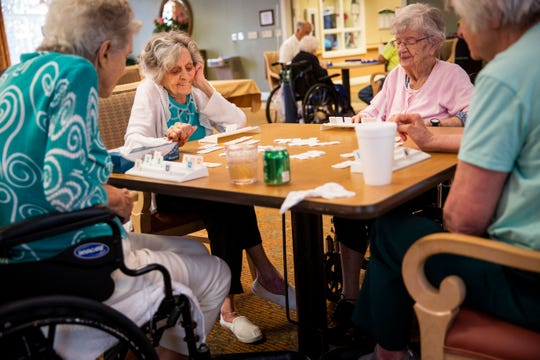 From left to right, Doris Flaitz, 94, Catherine Allen, 93, Annette Malefyt, 98, and Katherine Dixon, 78, play Rummikub at Life Care Center of Estero on Wednesday, May 22, 2019. The group gathers almost every afternoon to play the game, which is played with tiles and combines elements of the card game rummy and mahjong.