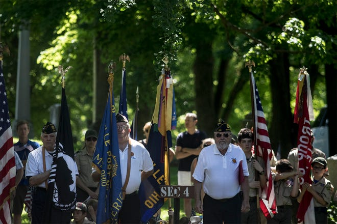 The 151st Granville Memorial Day Parade arrives for a service at Maple Grove Cemetery in 2019. This year's parade, which would have been the 152nd, has been canceled because of the current pandemic, although veterans will be honored with a smaller ceremony.