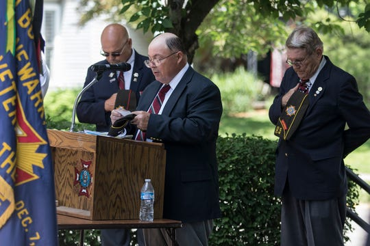 Newark celebrated Memorial Day Monday by dedicating a monument stone at the Veterans Park on 6th Street.