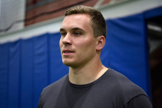 New York Giants rookie quarterback/tight end Eric Dungey talks to NorthJersey.com's Art Stapleton (not pictured) after the fourth day of OTAs on Tuesday, May 28, 2019, in East Rutherford.