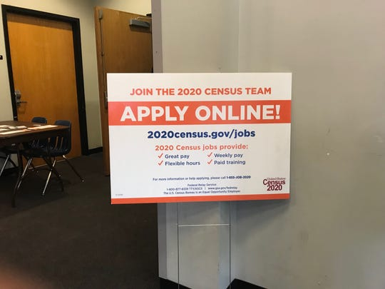 A sign at Passaic County Community College inviting community members to apply for temporary jobs with the U.S. Census Bureau.
