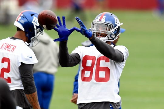 New York Giants rookie wide receiver Darius Slayton (86) catches the ball during the fourth day of OTAs on Tuesday, May 28, 2019, in East Rutherford.