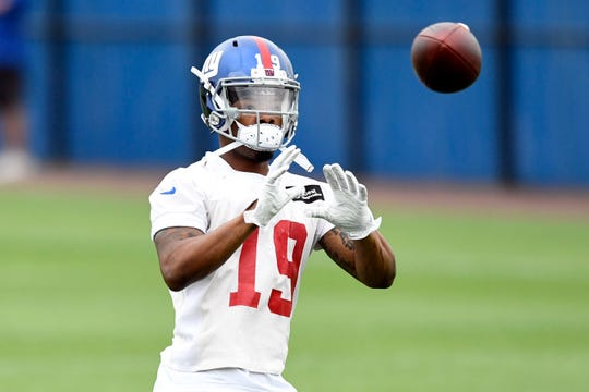 New York Giants wide receiver Corey Coleman participates in drills on the fourth day of OTAs on Tuesday, May 28, 2019, in East Rutherford.