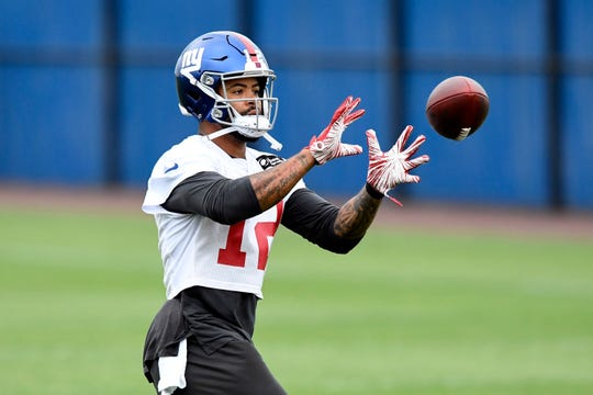 New York Giants wide receiver Cody Latimer participates in drills on the fourth day of OTAs on Tuesday, May 28, 2019, in East Rutherford.