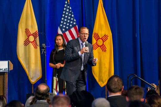 In this Nov. 6, 2018, file photo, New Mexico state auditor-elect Brian Colon delivers his acceptance speech in Albuquerque, New Mexico. New Mexico's state auditor announced Tuesday, May, 28, 2019, an examination of the state's system for settling lawsuits against the state by its employees, in the wake of secretive settlement payouts to the State Police security detail for former Gov. Susana Martinez.
