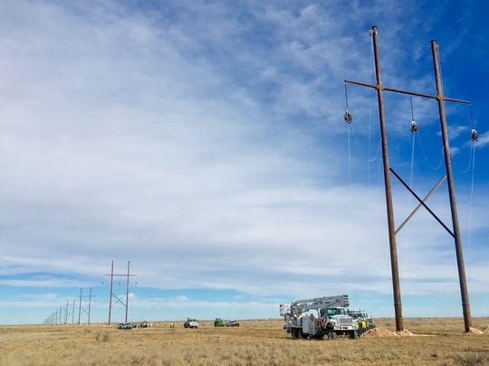 Transmission line construction that has taken place on a new stretch of 345-kilovolt line between Hobbs, N.M., and Yoakum County, Texas.