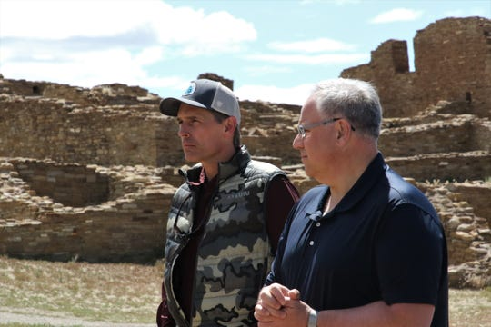 U.S. Sen. Martin Heinrich, D-NM, and Interior Secretary David Bernhardt stand in Pueblo Bonito, Tuesday, May 28, 2019, at Chaco Culture National Historical Park.