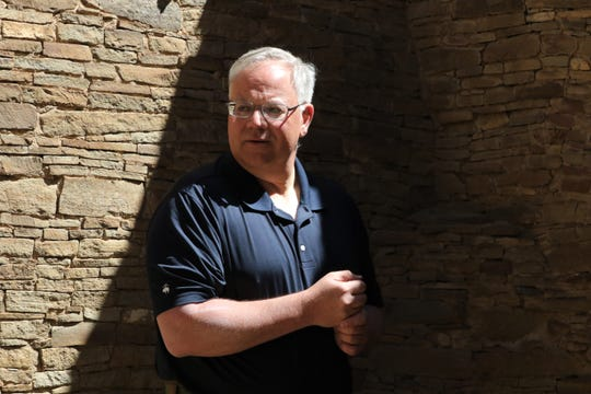 Interior Secretary David Bernhardt stands in a room at Pueblo Bonito, Tuesday, May 28, 2019, at Chaco Culture National Historical Park.