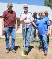 John Cornelius, Rick Hutchison and Lorna Fike took a moment to ceremonially break ground at Hope Harbor. The exterior of the existing building will be modified as needed, however, the majority of construction will be accomplished in its interior as plans take shape.