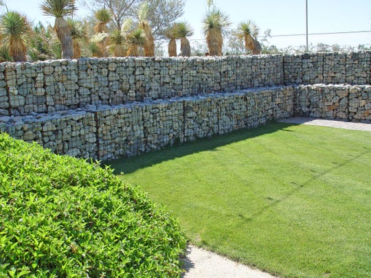 This two-tier retaining wall demonstrates how high you can go with gabion construction.