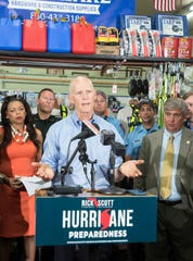 U.S. Sen. Rick Scott, R-Fla., holds a press conference Tuesday at Pensacola Hardware to promote hurricane preparedness before the start of hurricane season.