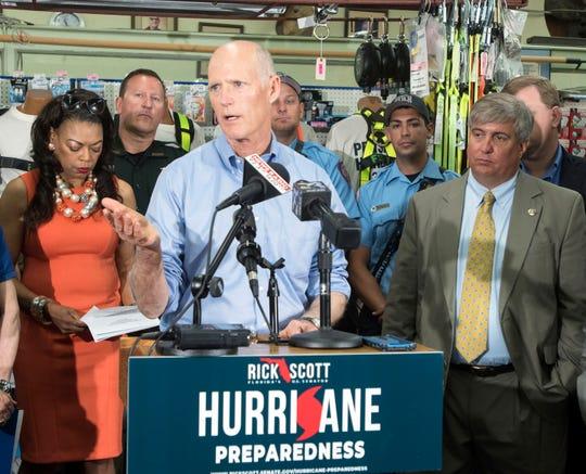 Senator Rick Scott holds a press conference in Pensacola to promote  hurricane preparedness at Pensacola Hardware on Tuesday, May 28, 2019. The 2019 Atlantic Hurricane Season begins on June 1.