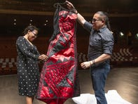 Phoenix fashion designer Loren Aragon unveils the couture gown he created for ASU Gammage executive director Colleen Jennings-Roggensack to wear at the 2019 Tony Awards.