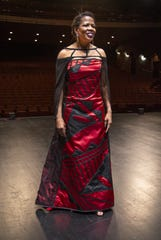 """I feel so regal,"" ASU Gammage exec Colleen Jennings-Roggensack said after trying on the couture dress created by Phoenix designer Loren Aragon for the 2019 Tony Awards."