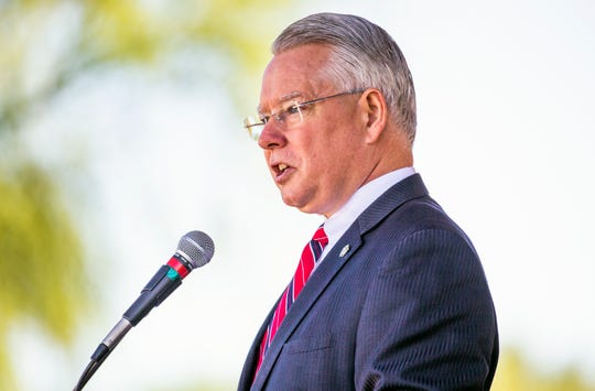 Maricopa County Attorney Bill Montgomery, an Iraq veteran, delivers the keynote speech during Memorial Day ceremonies at the National Memorial Cemetery of Arizona, Monday, May 27, 2019, honoring veterans who have died in service to their country.