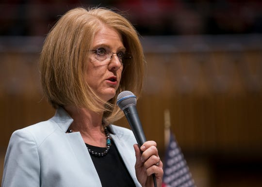 Sen. Heather Carter, R-Cave Creek, speaks in the Senate at the Arizona State Capitol in Phoenix on Monday, May 27, 2019.