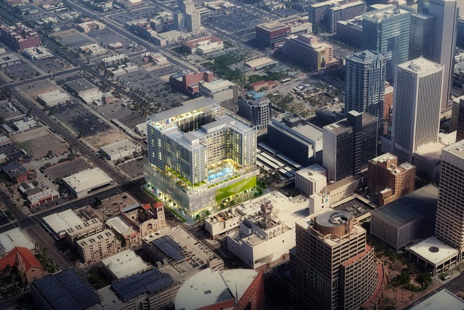 A aerial view rendering of 'X Phoenix,' a 20-story 253-unit development in Phoenix's downtown core. The development is set to be the first high-rise built west of 1st Avenue since City Hall was constructed in the mid-90s.