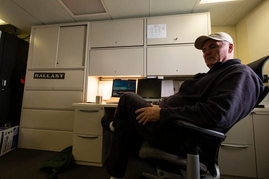 Michael Surgalski, captain of the T/S State of Michigan, sits in his office aboard the ship Tuesday, May 28, 2019.