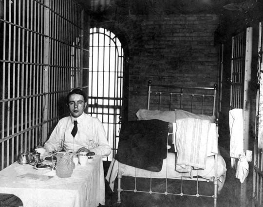 "Harry Thaw is shown eating dinner in jail. In 1906 he was charged with the murder of Staatsburgh's architect Stanford White over an alleged affair with his wife, Evelyn Nesbit, one of the tales to be told during Staatsburgh State Historic Site's ""Gilded Age Scandals,"" June 2."