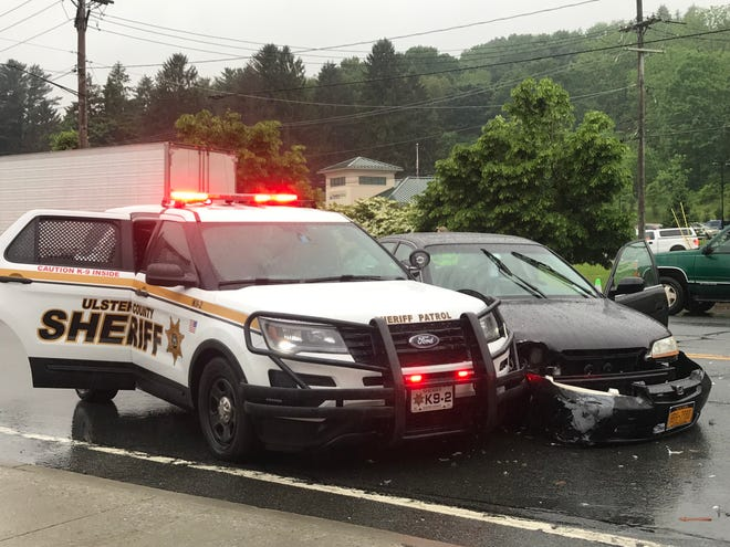An Ulster County Sheriff's Office K-9 vehicle was involved in a traffic collision Tuesday in Highland.