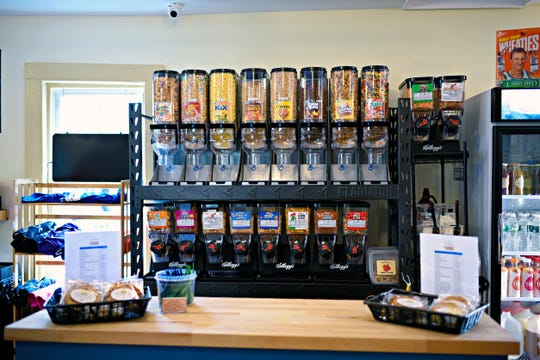 The selection of cereals available at Grinds & Grains in New Paltz.