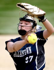 Dallastown pitcher Kelsie Merriman delivers against Warwick during a District 3 Class 6-A softball semifinal at York College Tuesday, May 28, 2019. Warwick won 4-1. Bill Kalina photo