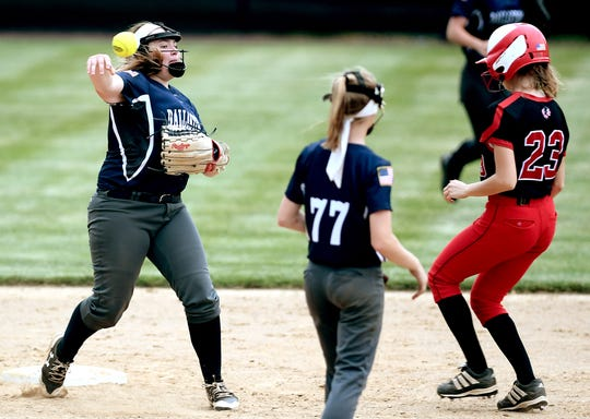 Dallastown's Allison Hoffman throws after forcing Warwick's Willow Forney during a District 3 Class 6-A softball semifinal at York College Tuesday, May 28, 2019. Warwick won 4-1. Bill Kalina photo