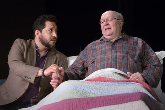 "Ernesto Rosas and Bill Jones rehearse  a scene in ""Tuesdays With Morrie"" at DreamWrights Center for Performing Arts."
