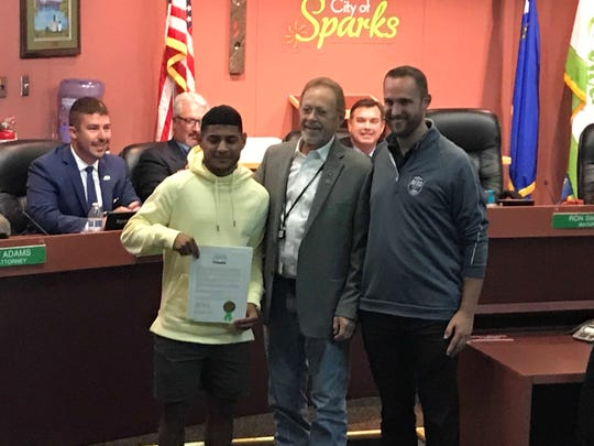 Sparks High graduate Kevin Partida was honored by the Sparks City council on Tuesday. He is recovering from a knee injury last year and playing with Reno 1868 FC.