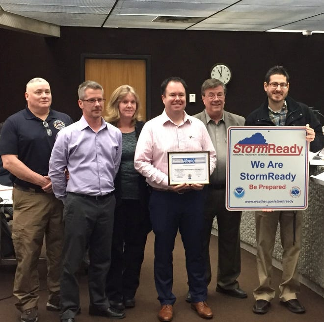 Wayne County EMA received StormReady certification from the National Weather Service during 2018 because of its preparations for severe storms. Tom Koorsen (from left), Jon Duke, Tammy Spears and Matthew Cain accepted the recognition.